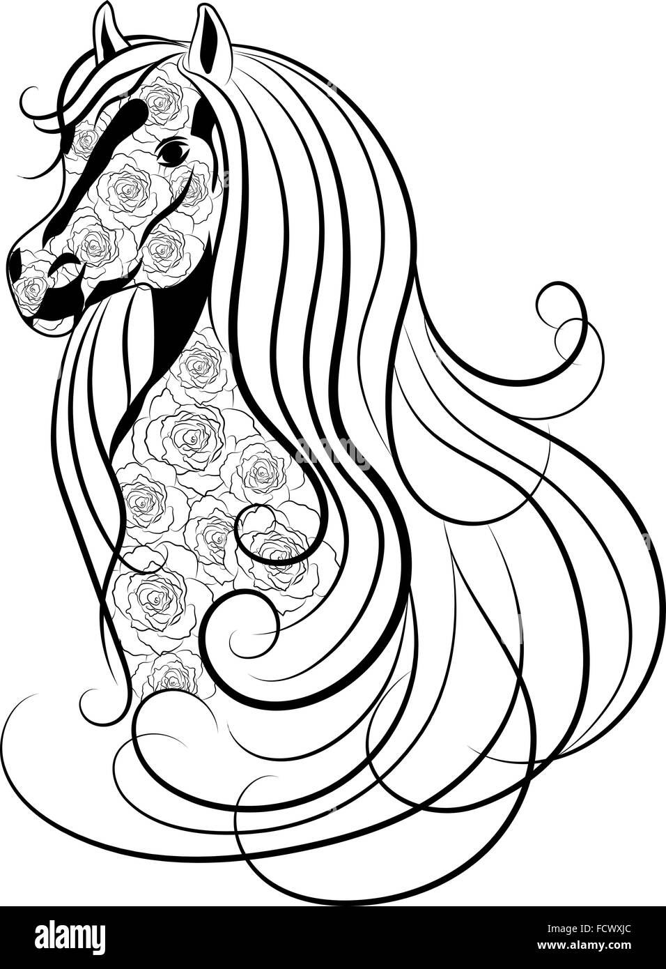 Vector Illustration Of Horse Head Decorated With Floral Pattern In Stock Vector Image Art Alamy