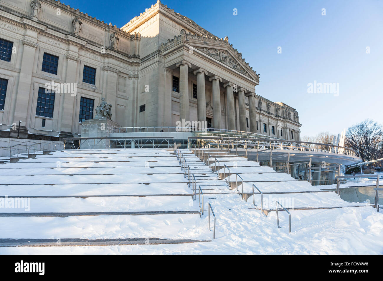 The Brooklyn Museum clad in ice and snow the morning after the Blizzard of 2016 in the Prospect Heights, Brooklyn, - Stock Image