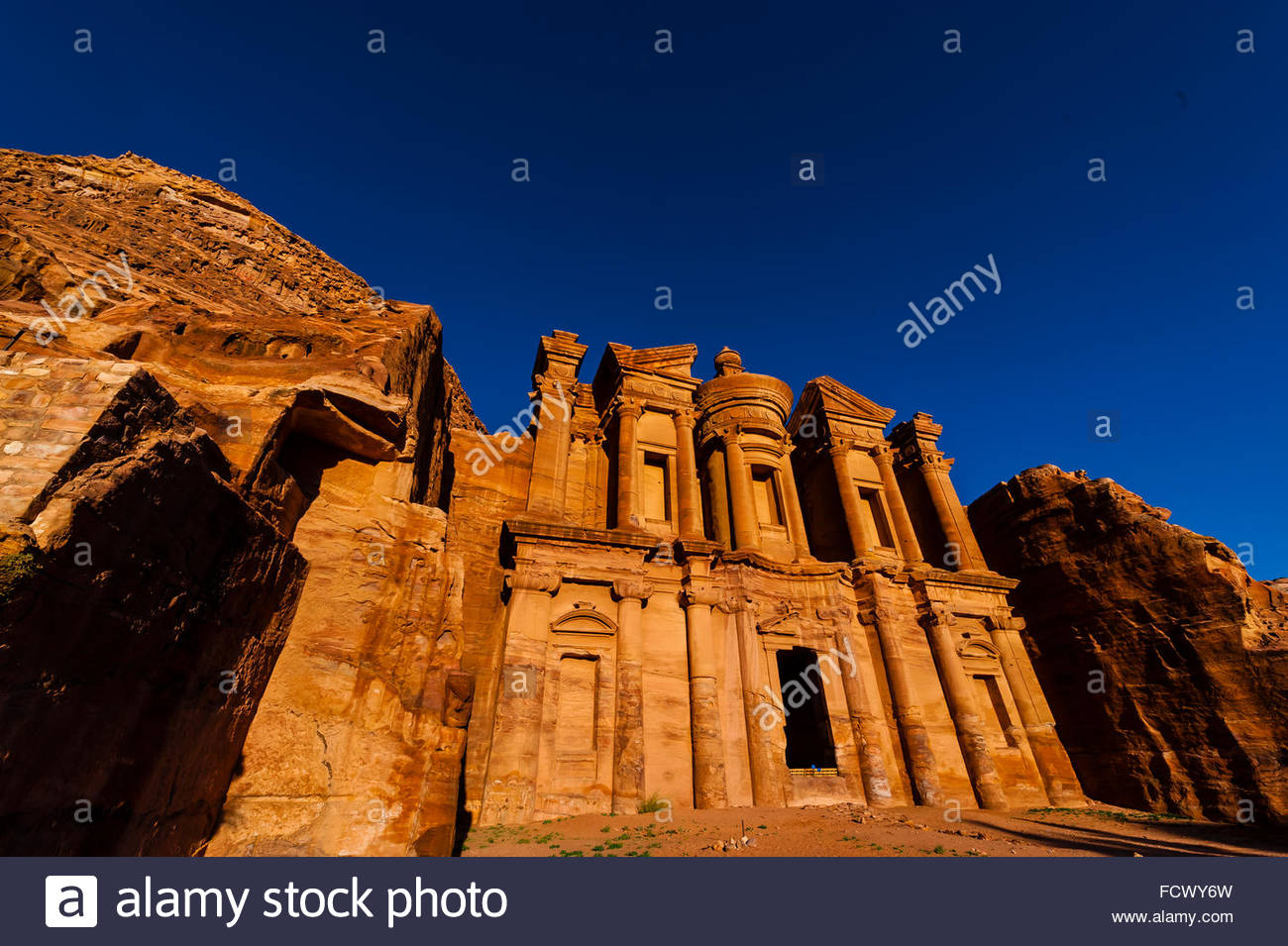 The Monastery (Ad-Dayr or Ad-Deir in Arabic) boasts a massive facade almost fifty metres square, Petra Archaeological - Stock Image
