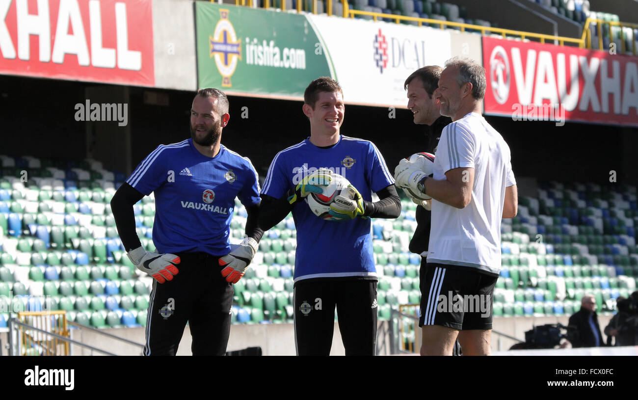 Northern Ireland international goalkeepers taking part in a Northern Ireland training session (October 2015). - Stock Image