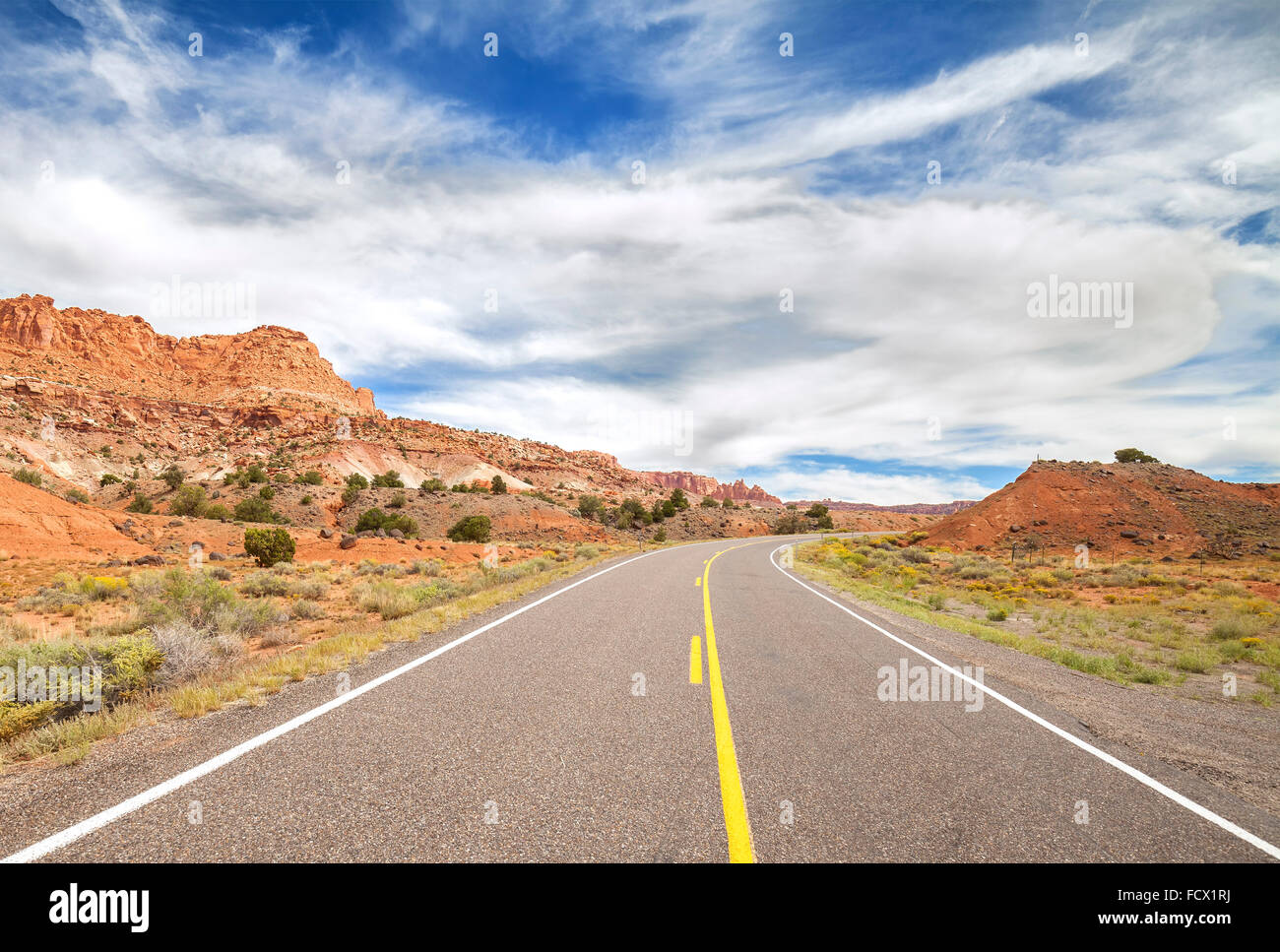 Picture of a scenic desert road, USA. - Stock Image
