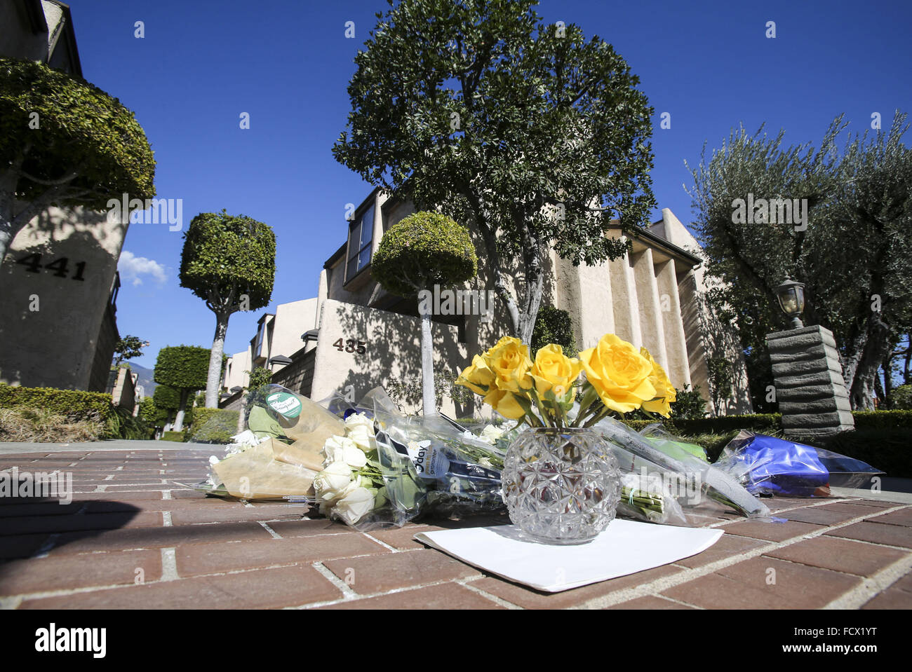 Los Angeles, California, USA. 25th Jan, 2016. Flowers are placed at a memorial outside the scene of where two brothers - Stock Image