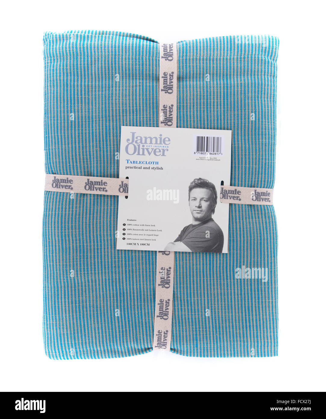 Jamie Oliver Vintage Blue Tablecloth on a white Background - Stock Image