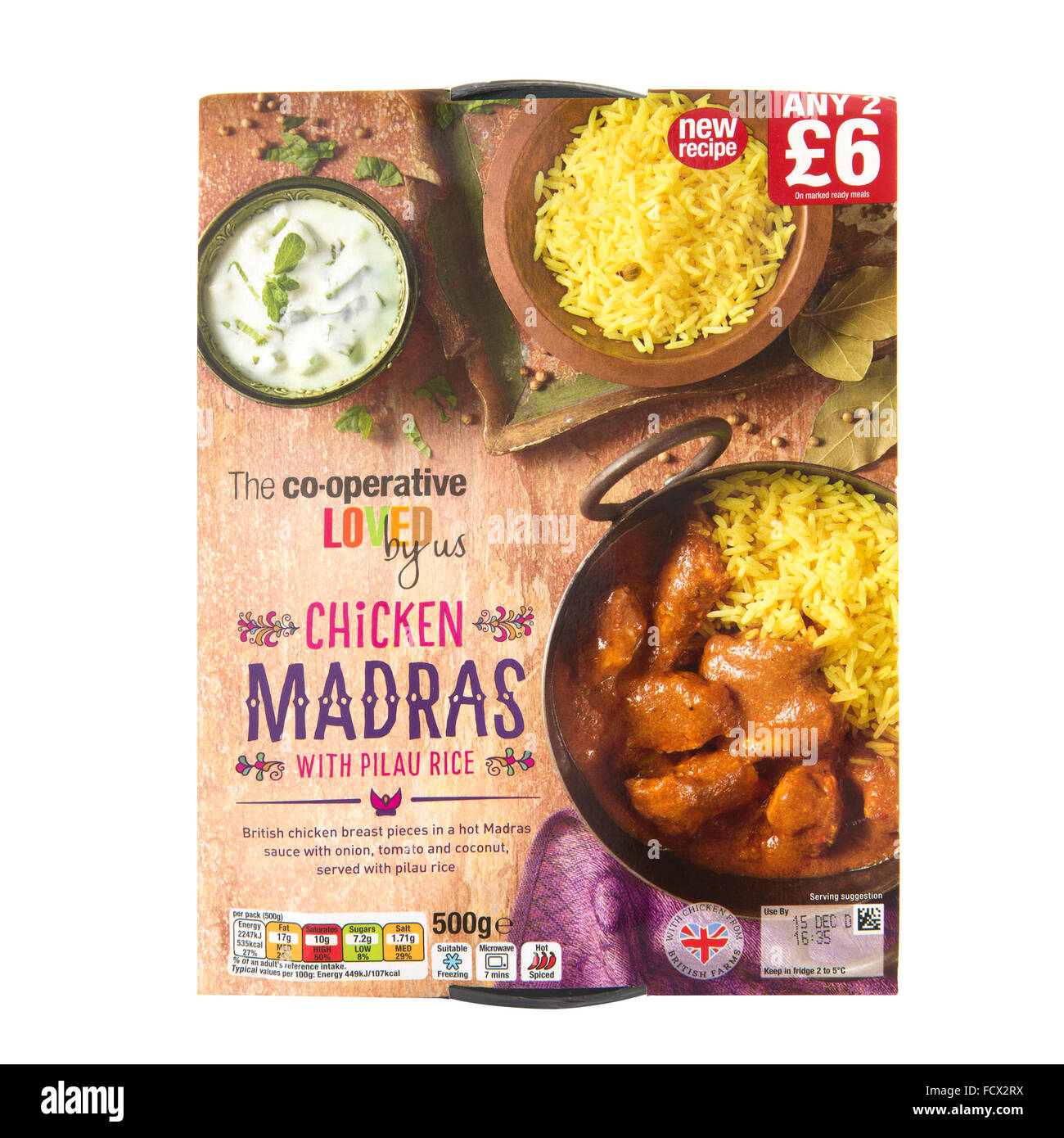 Chicken Madras Curry With Pilau Rice on a White Background - Stock Image