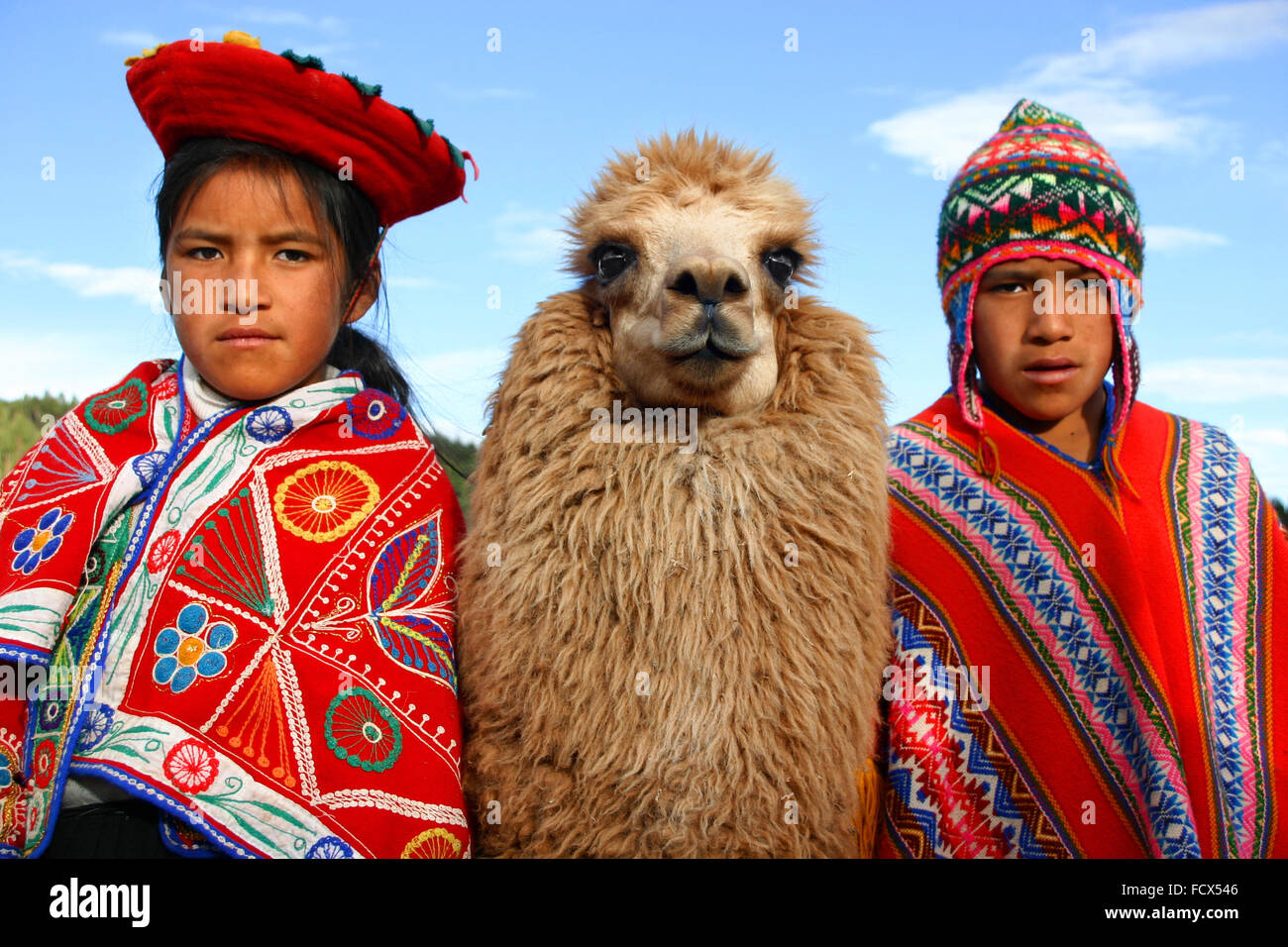 Children of Peru, with their lama, Cuzco Stock Photo