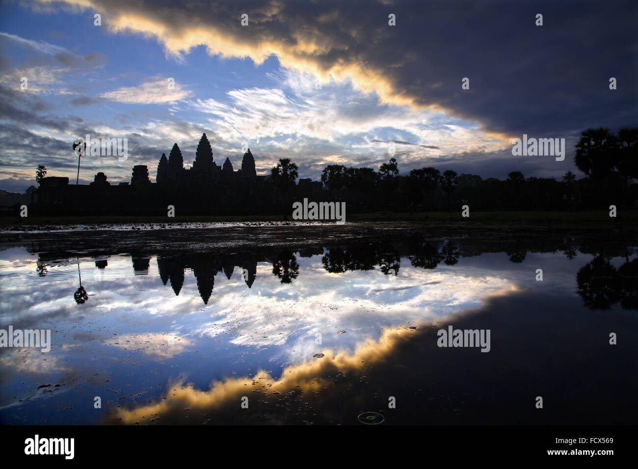 Amazing sunrise on Angkor Vat, Cambodia - Stock Image