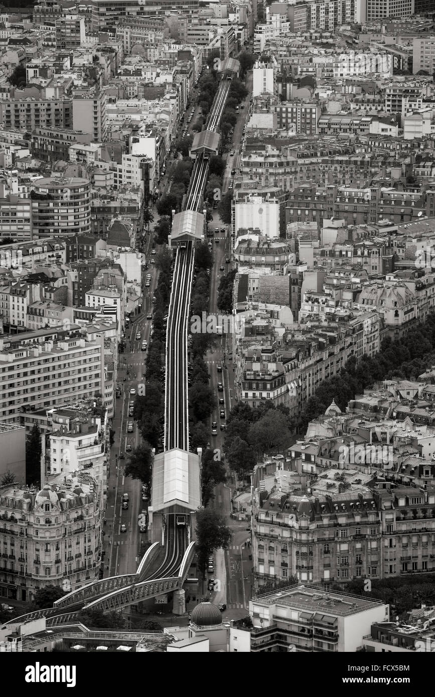 B&W Aerial view of the Boulevard Garibaldi in the 15th arrondissement with elevated subway stations and tracks. - Stock Image