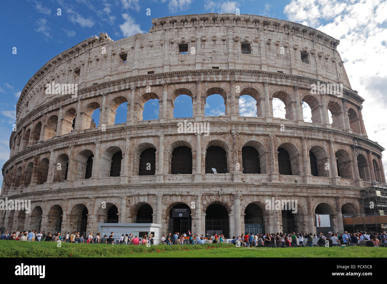The Colosseum or Coliseum or Flavian Amphitheatre in Rome, Italy;  (Latin: Amphitheatrum Flavium); Anfiteatro Flavio Stock Photo