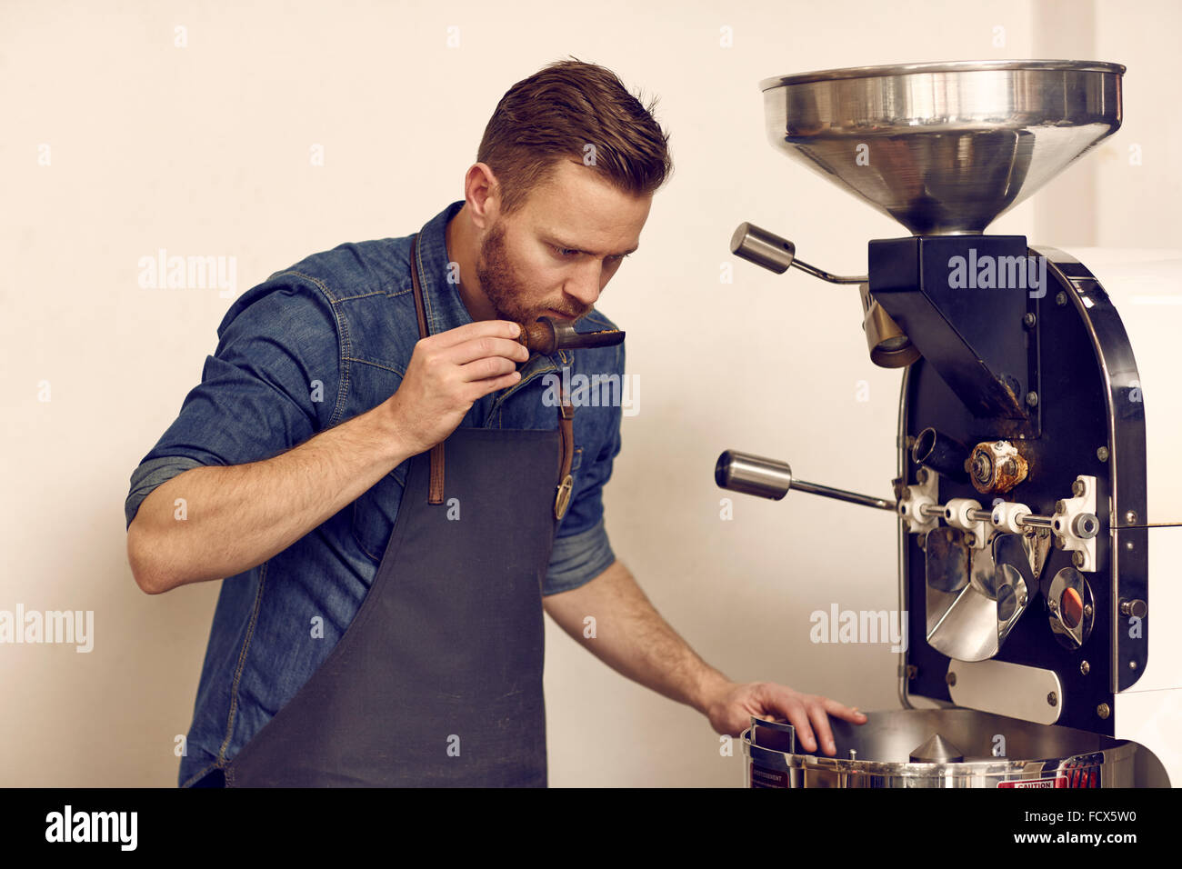 Coffee connoiseur checking freshly roasted beans for full aroma - Stock Image
