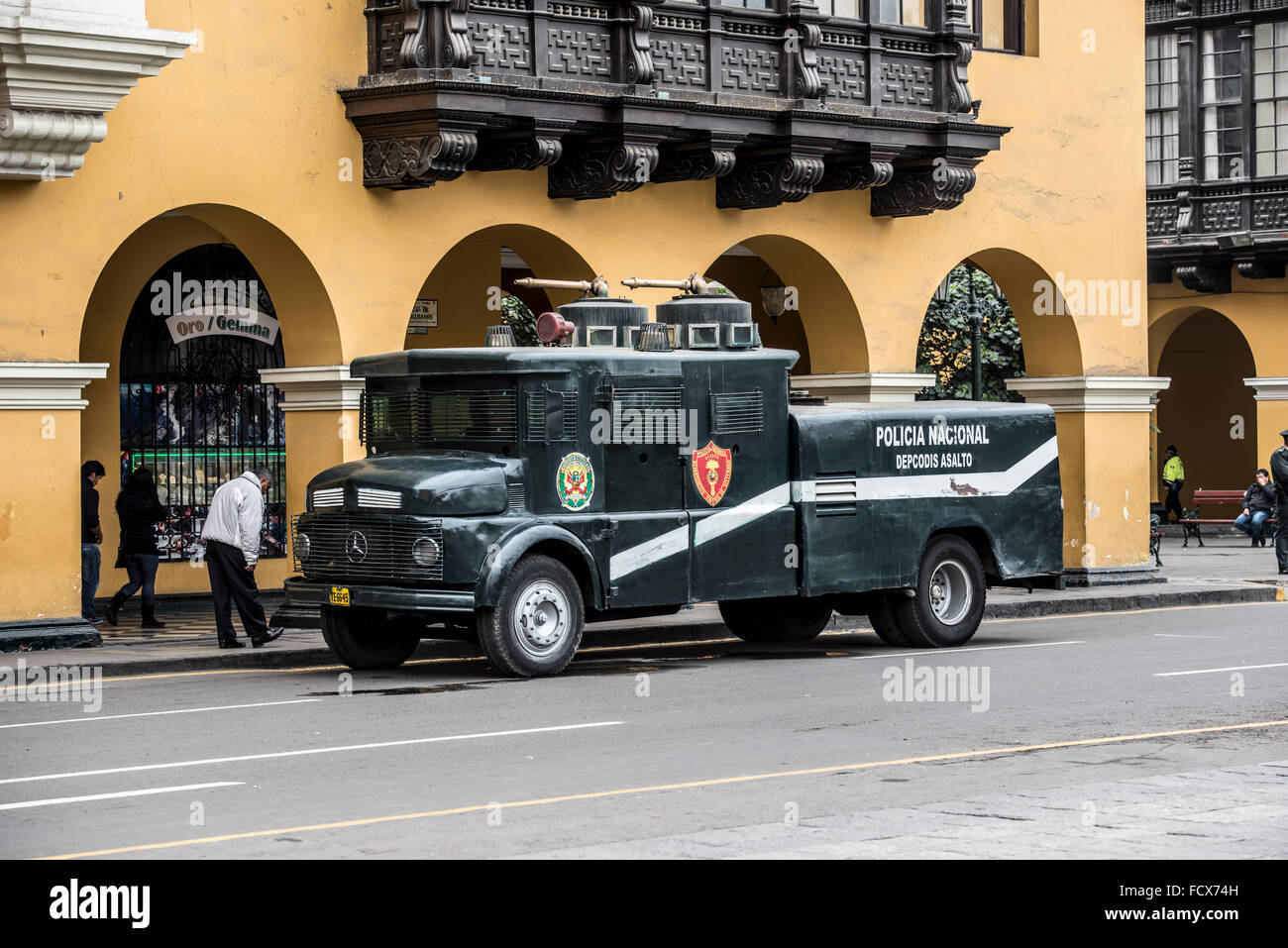 Police water cannon in Lima, Peru - Stock Image
