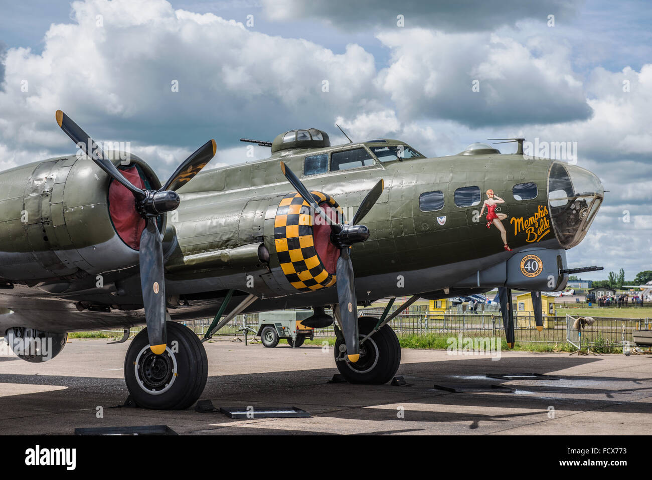 B-17 Flying Fortress G-BEDF Sally B is the last remaining airworthy B-17 in Europe. Stock Photo