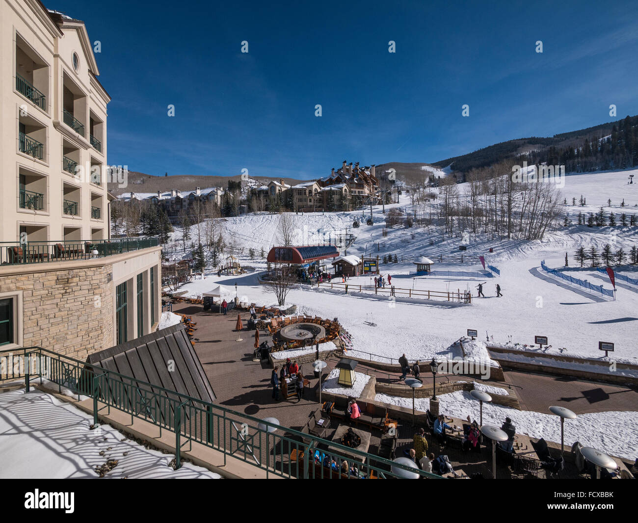 Base area and Buckaroo Express I gondola as seen from the Park Hyatt, Beaver Creek Ski Resort, Avon, Colorado. - Stock Image