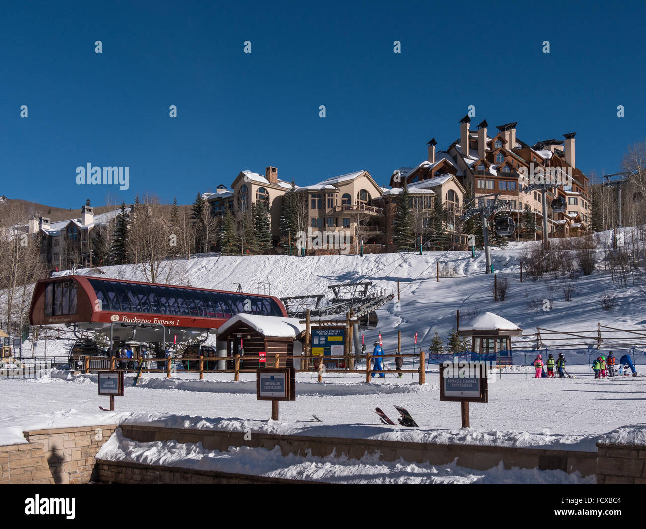 Base area and Buckaroo Express I gondola, Beaver Creek Ski Resort, Avon, Colorado. - Stock Image