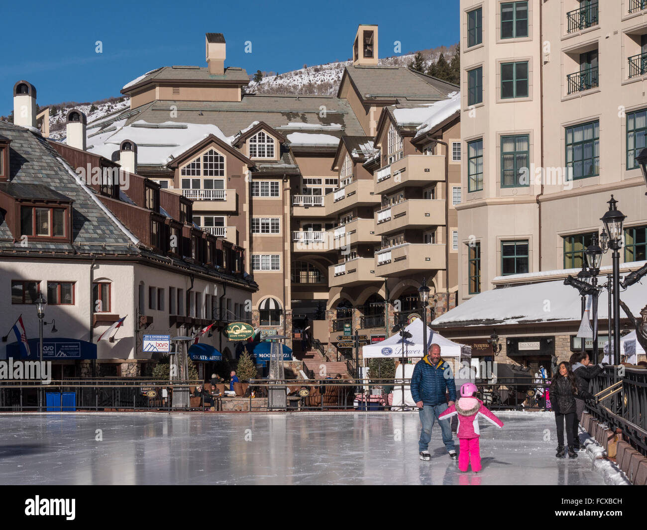 Ice rink, Beaver Creek Village, Beaver Creek Ski Resort, Avon, Colorado. - Stock Image