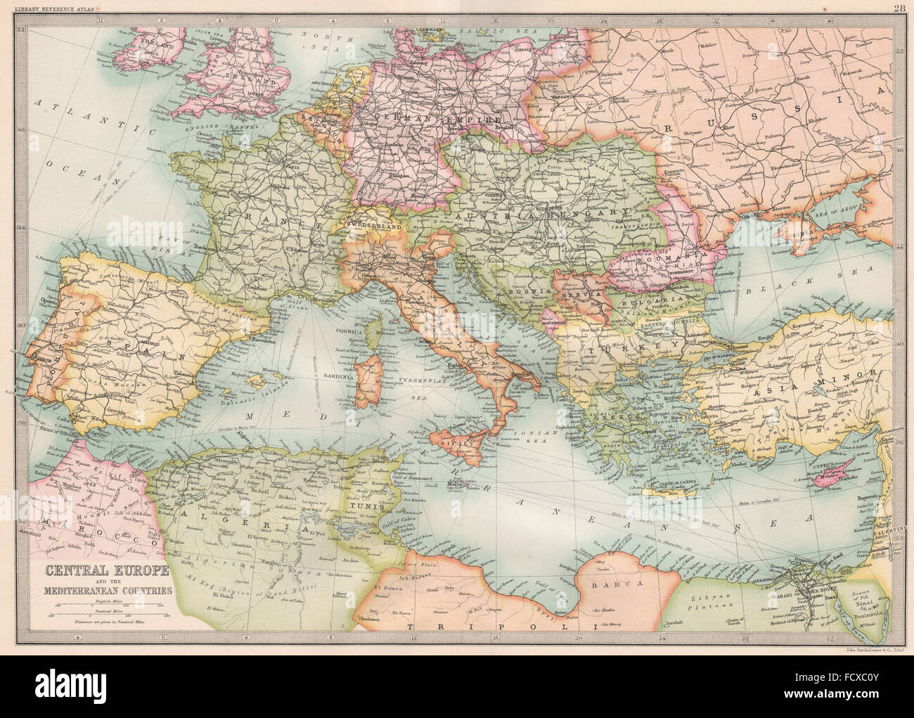 europe central europe and the mediterranean countries bartholomew 1890 map stock image