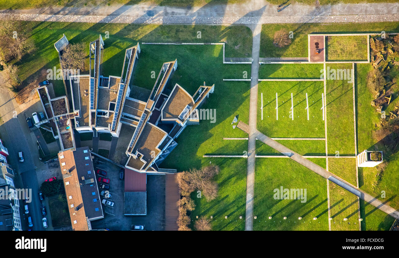 Aerial view, synagogue Duisburg of the Jewish Community of Duisburg in the inner harbor, Garden of Remembrance - Stock Image