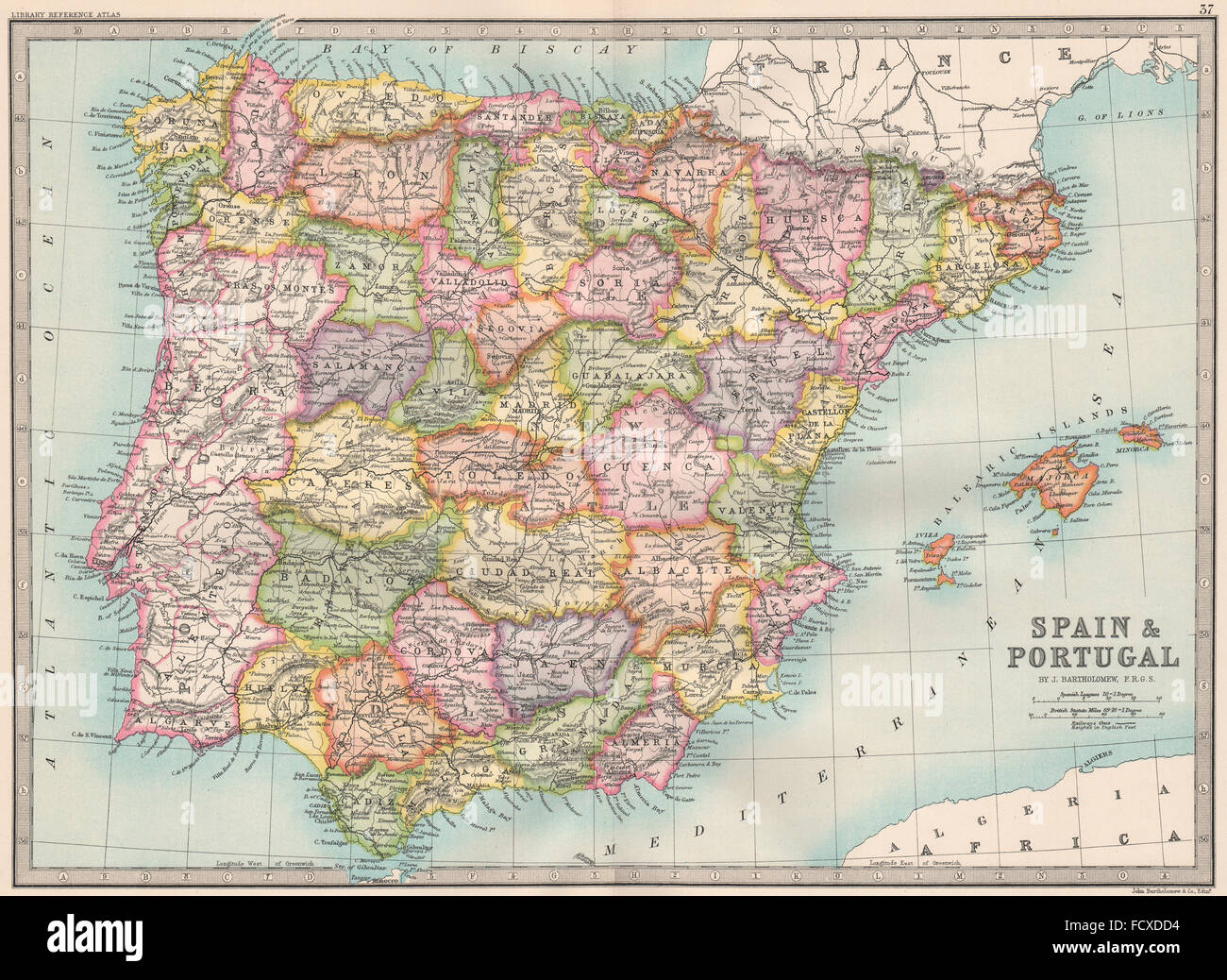Spain Map Of Provinces.Iberia Spain Portugal Provinces Bartholomew 1890 Antique Map