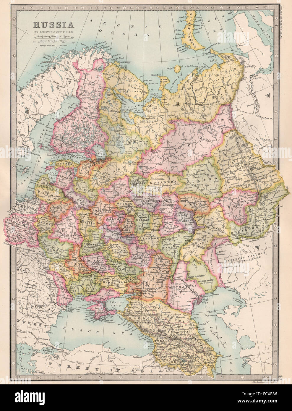 Finland russia map stock photos finland russia map stock images european russia including caucasus finland bartholomew 1890 antique map stock image gumiabroncs Gallery