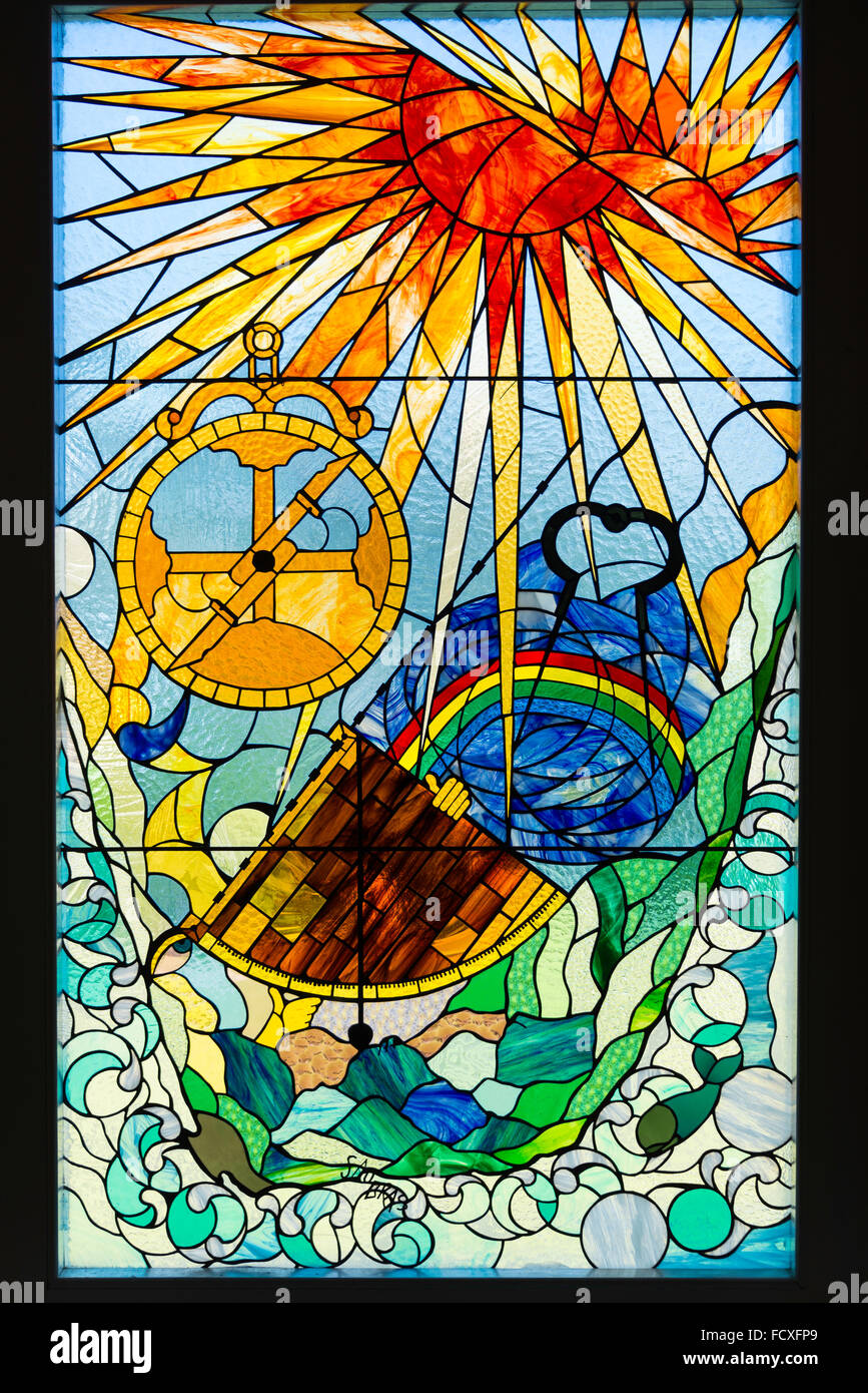 Stained glass window in Bartolomeu Dias Museum, Mossel Bay, Eden District, Western Cape Province, South Africa - Stock Image