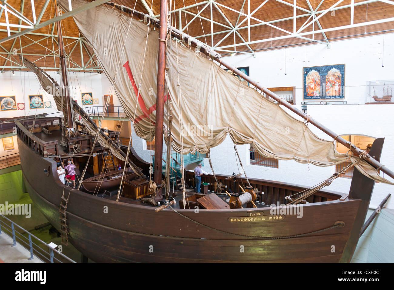 Replica of 15th Century ship in Bartolomeu Dias Museum, Mossel Bay, Eden District, Western Cape Province, South - Stock Image