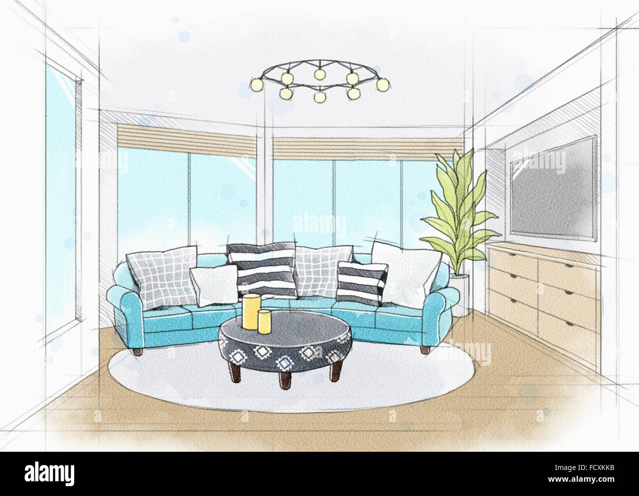 Watercolor Living Room Interior