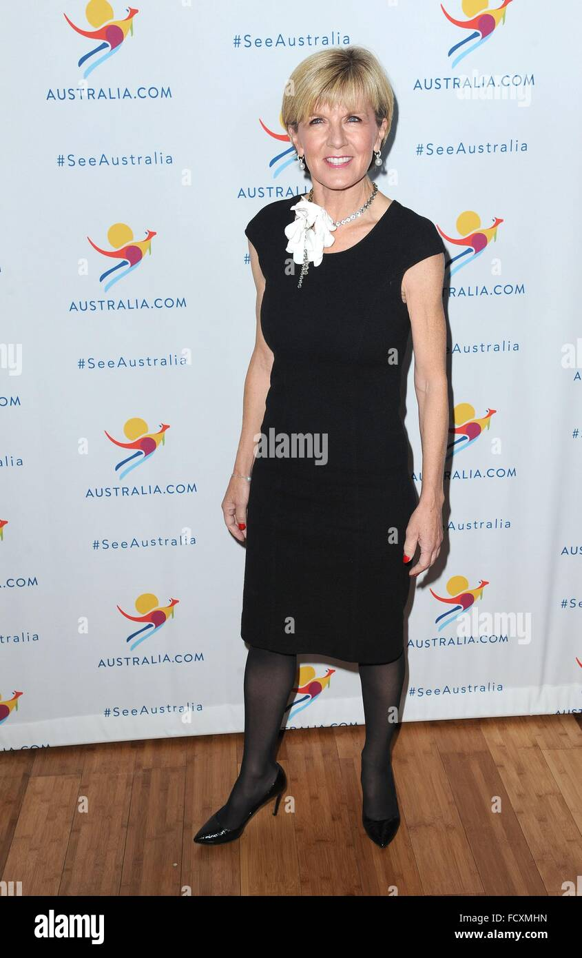 New York, NY, USA. 25th Jan, 2016. Julie Bishop in attendance for Chris Hemsworth Announced As Tourism Australia's - Stock Image