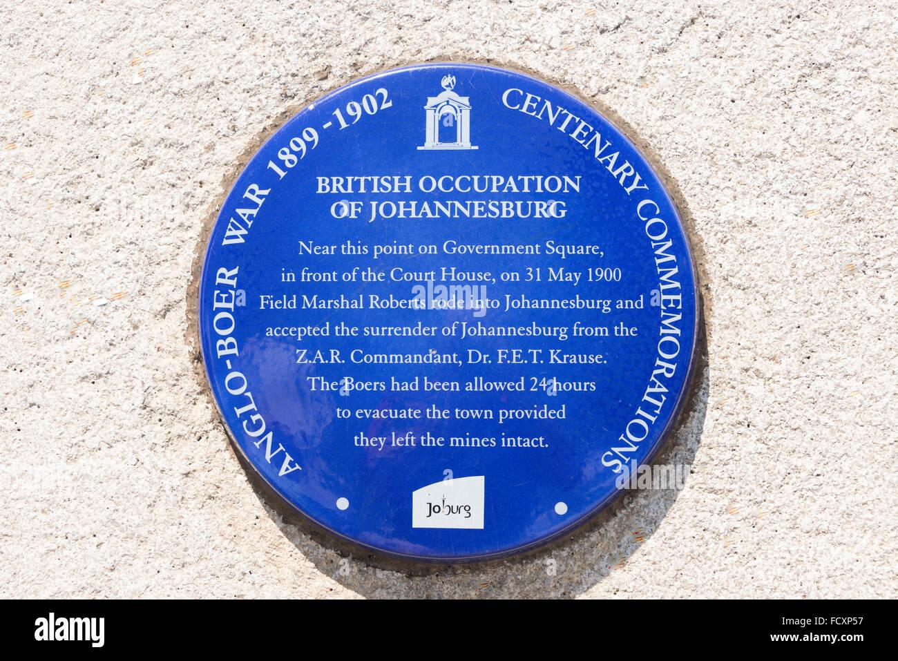 Anglo-Boer War commemoration plaque, Gandhi Square, Johannesburg, City of Johannesburg Municipality, Gauteng, South - Stock Image