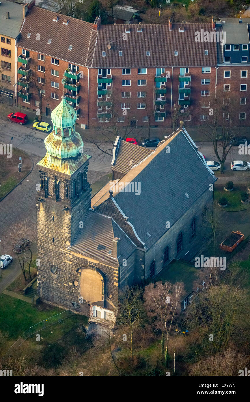 Aerial view, vacant church Neudorfer market, turning away from the Church, membership decline, leaving the church, - Stock Image