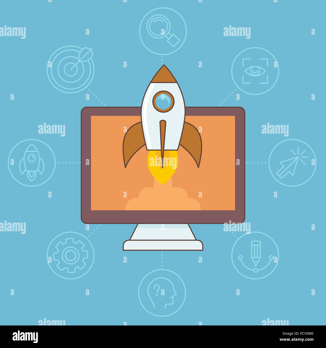 Start up concept in flat linear style - space ship and computer - Stock Image