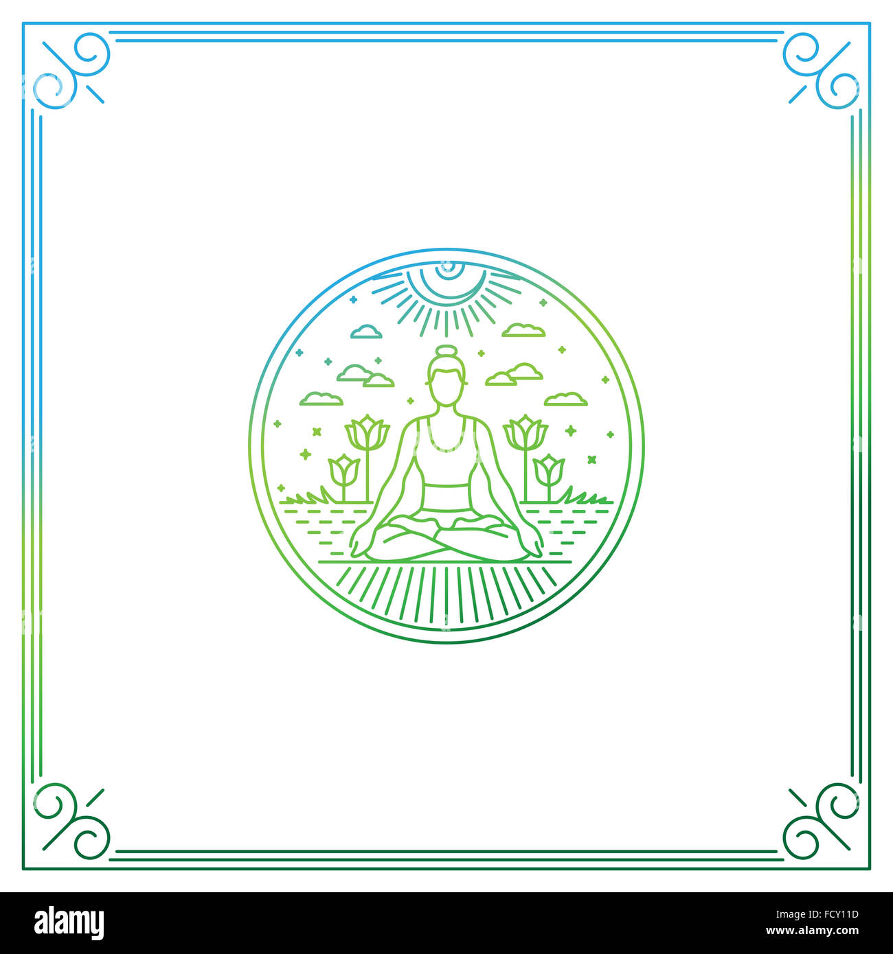 Illustration in trendy linear style - woman in lotus pose - logo or print concept for yoga studio or class - Stock Image
