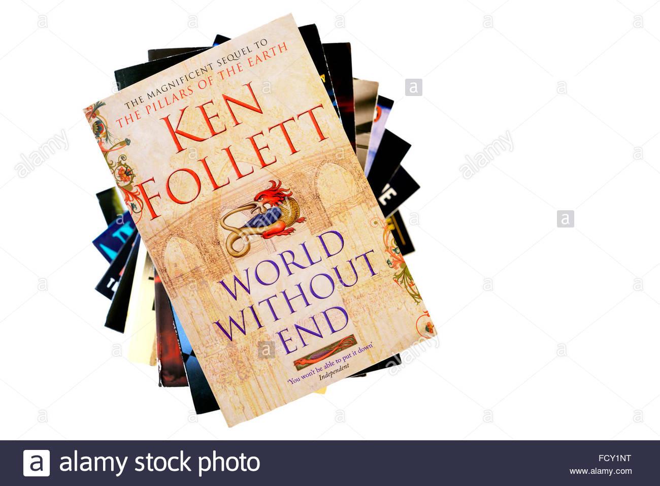 Ken Follett 2007 novel World Without End, stacked used books, England - Stock Image