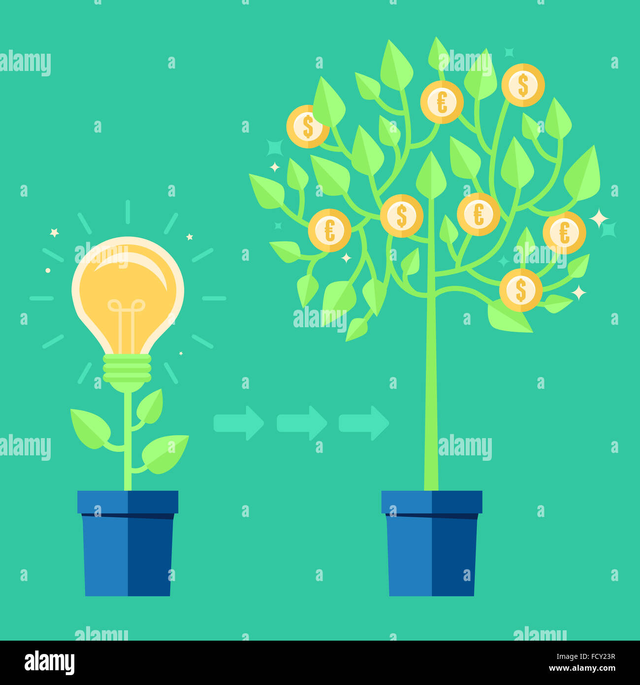 Creative concept in flat style - light bulb growing from the flower pot - idea icon - Stock Image