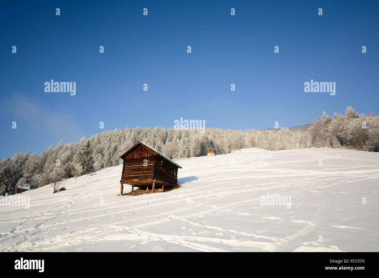 Winter landscape with wooden hut, Pitztal Alps - Tyrol Austria Stock Photo