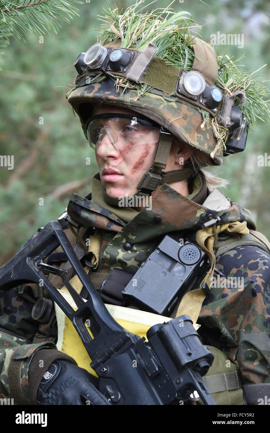 Light Infantry soldier of 3rd Company, 1st Infantry Battalion during a force on force training exercise at the German Stock Photo