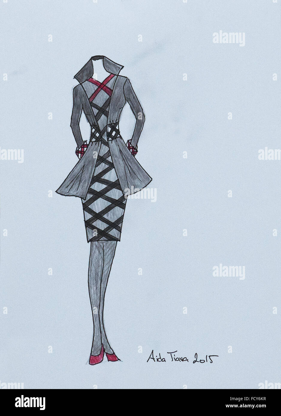 Handmade Fashion Sketch Fashion Draw Of A One Piece Dress And Stock Photo Alamy
