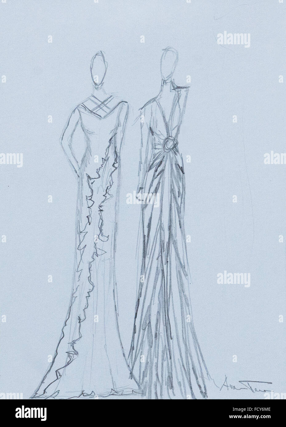 Handmade Fashion Sketch Of A Woman Long Dress In A Black White Stock Photo Alamy
