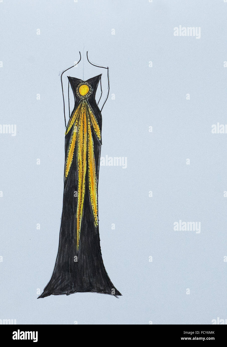 Handmade fashion sketch, fashion draw of a elegant evening dress ...