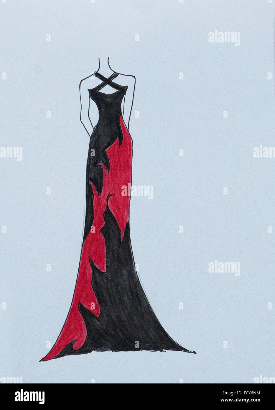 Handmade fashion sketch fashion draw of elegant woman long dress gown evening dress in black color with red abstract pattern