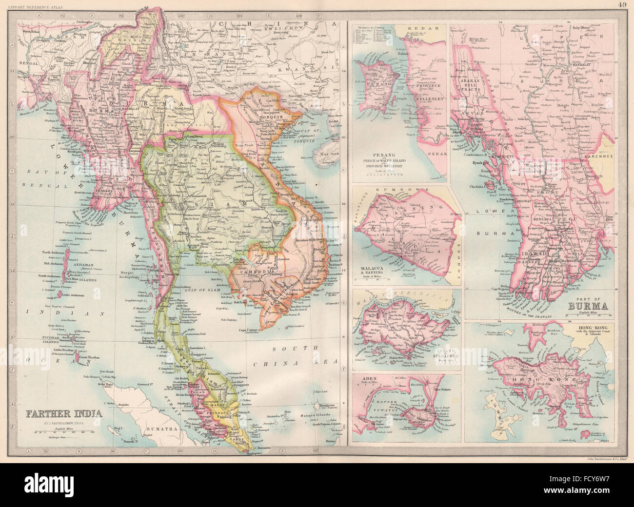Indochinabritish portspenang malacca singapore aden hong stock indochinabritish portspenang malacca singapore aden hong kongkachin 1890 map gumiabroncs Image collections