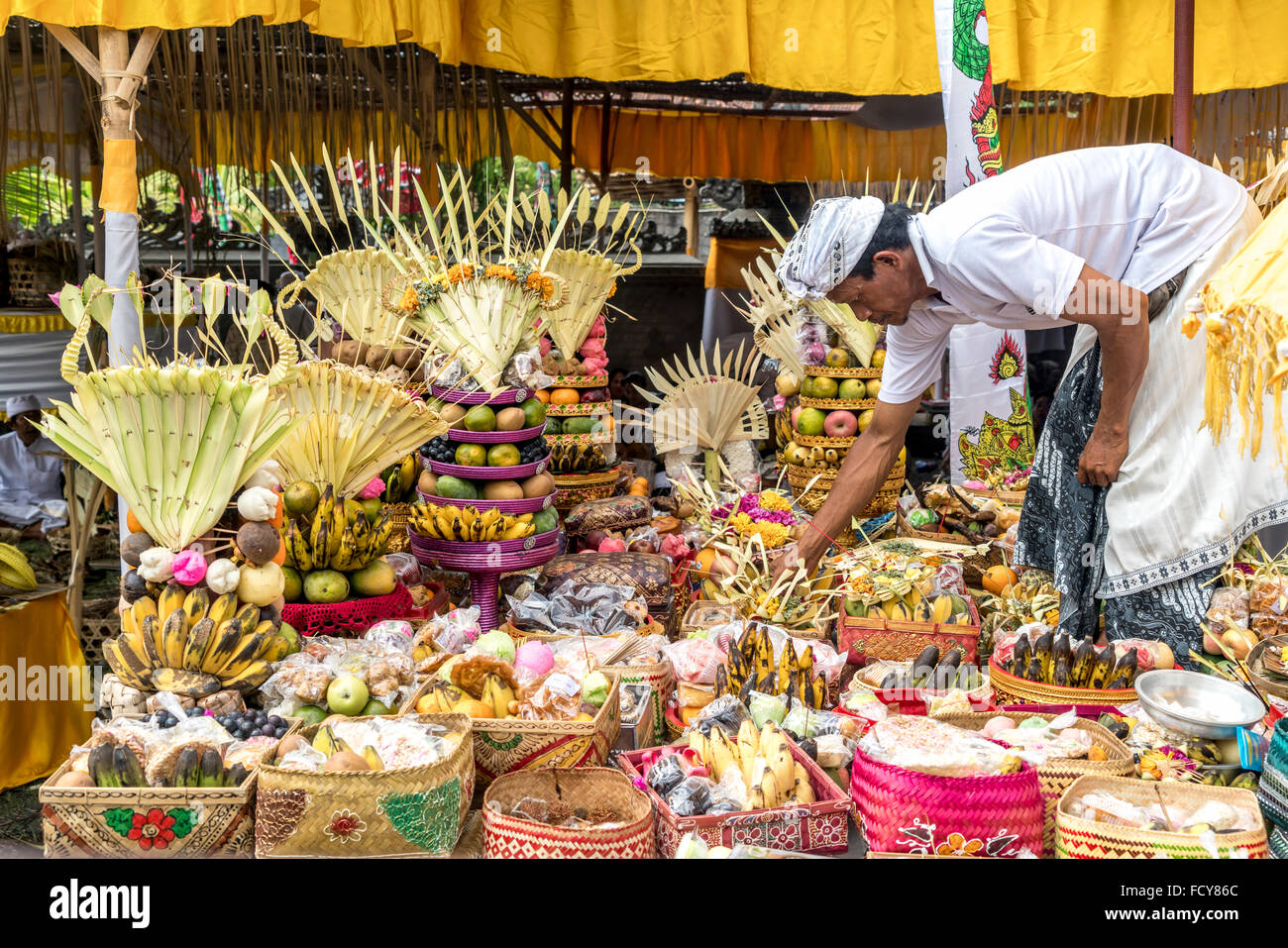 baskets with fruit offerings at a temple ceremony in Lovina Bali, Indonesia - Stock Image