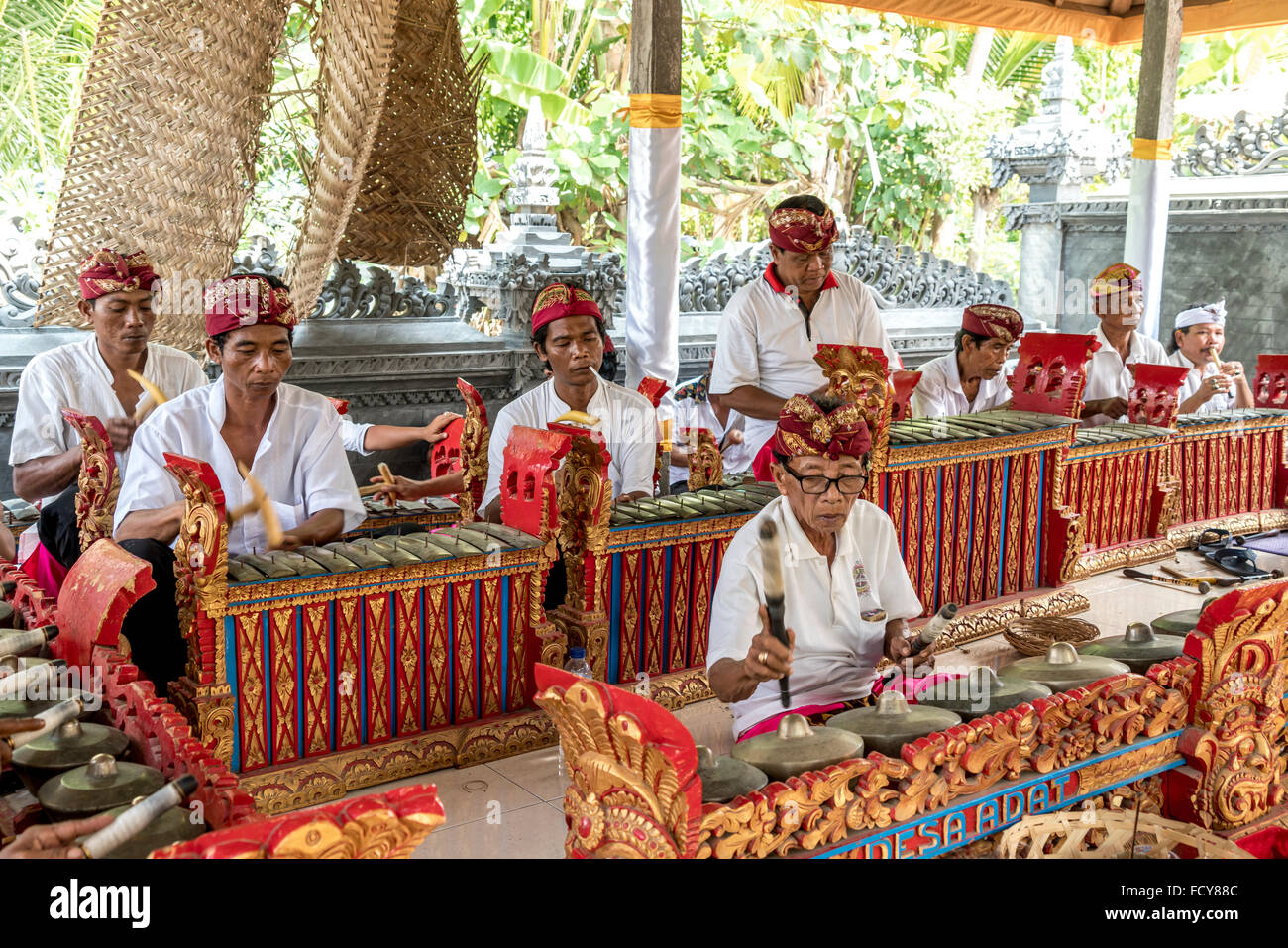 traditional gamelan ensemble during a temple ceremony in Lovina Bali, Indonesia - Stock Image