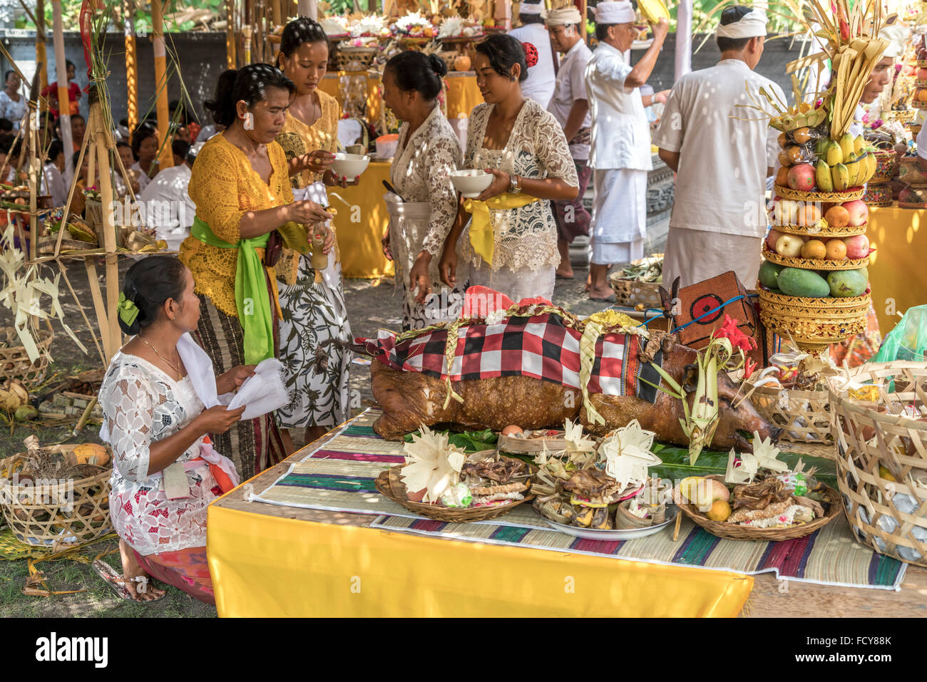 offerings at a temple ceremony in Lovina Bali, Indonesia - Stock Image