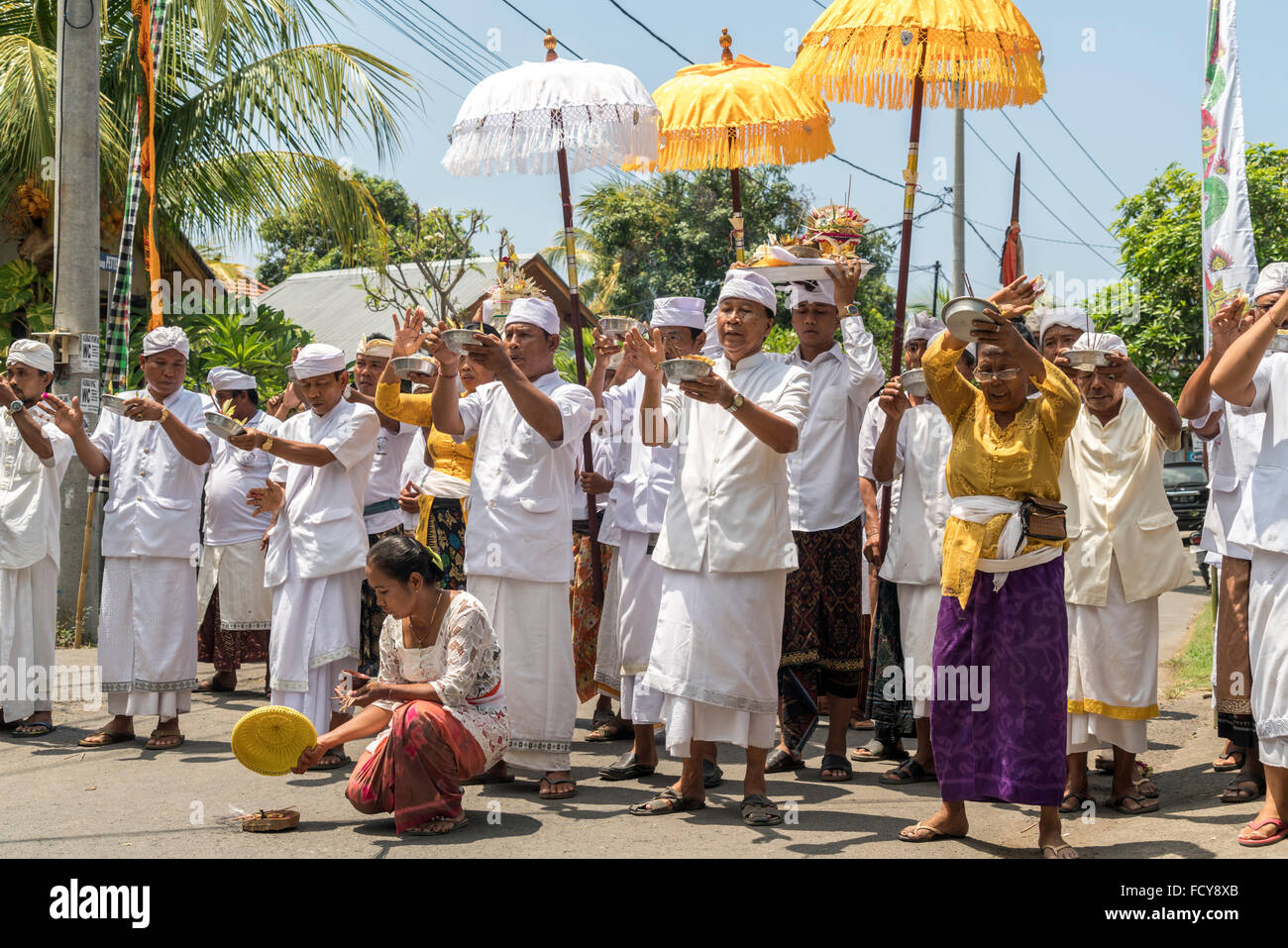 balinese temple ceremony in Lovina, Bali, Indonesia - Stock Image