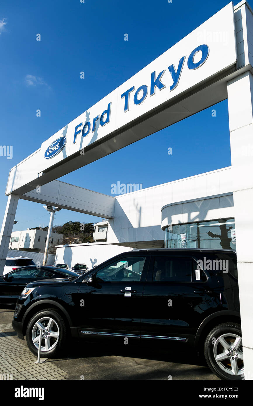 Ford vehicles on sale at a car dealership in Tokyo, Japan, on ...
