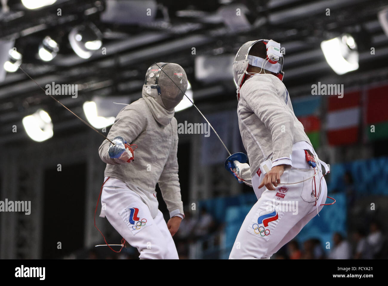 Alexander Trushakov (RUS) vs Nikita Proskura (RUS). Men's Sabre Individual Table of 32. Fencing. Crystal Hall. - Stock Image