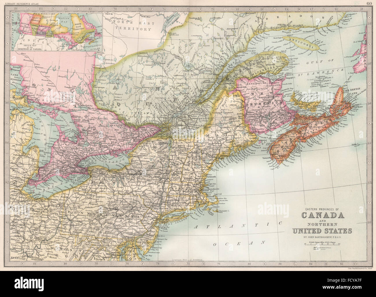 CANADA/US ATLANTIC COAST: Eastern seaboard. BARTHOLOMEW, 1890 antique map - Stock Image