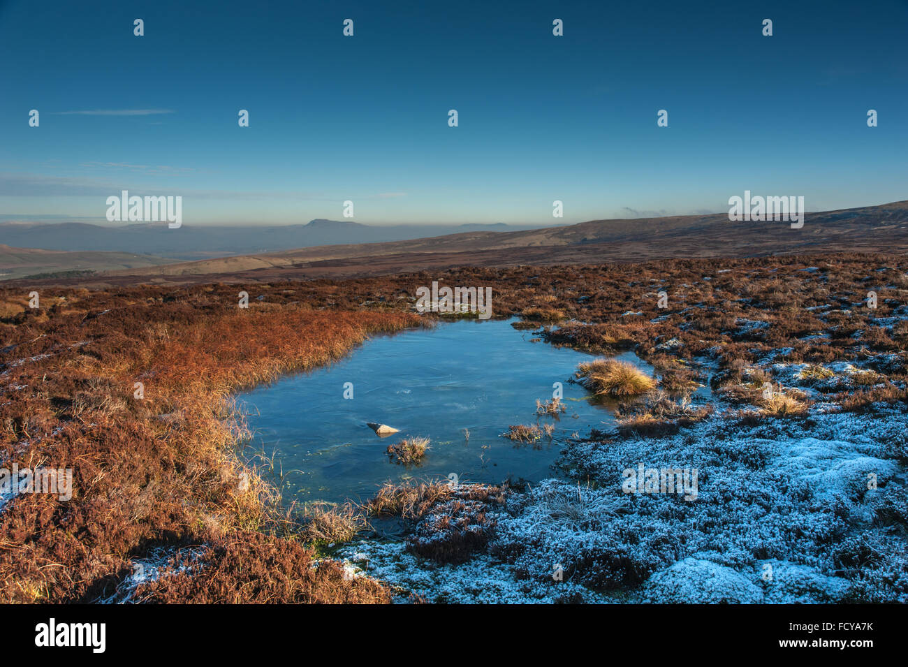 Small frozen tarn at Brownley Hill below Grit Fell in Bowland - Stock Image