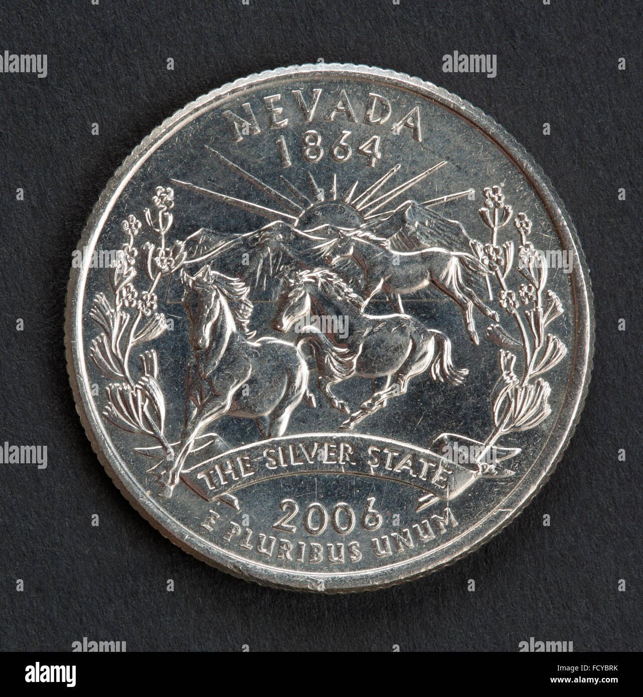 Nevada silver state quarter dollar coin - Stock Image