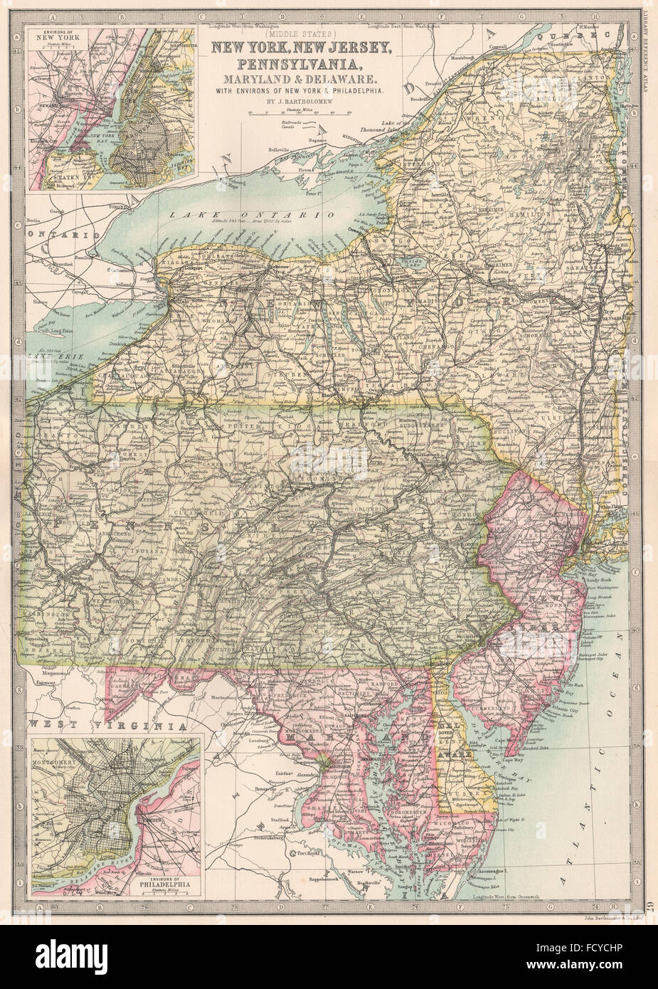 Map Of New York Pennsylvania And New Jersey.Mid Atlantic States New York New Jersey Pennsylvania Maryland Stock