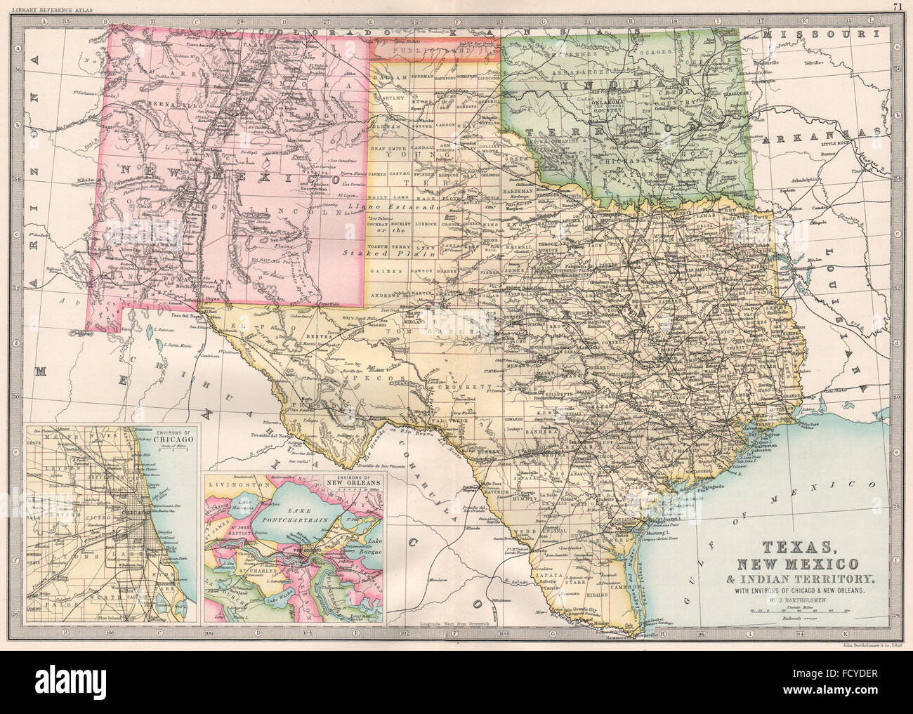 USA SOUTH:Texas New Mexico Indian Territory &